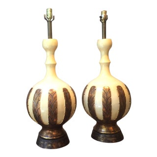 Large Mid-Century Modern Leaf Pattern Ceramic Table Lamps - a Pair