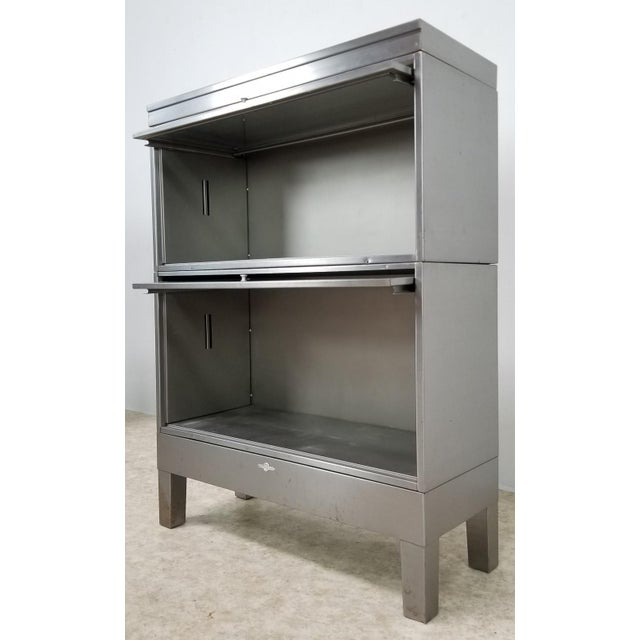 Mid Century Industrial Lawyer Bookcase For Sale In Los Angeles - Image 6 of 13
