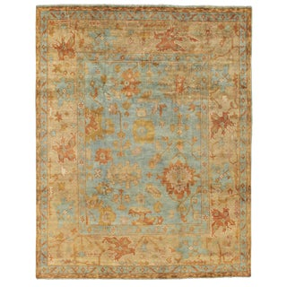 Exquisite Rugs Oushak Hand knotted Wool Dark Blue/Beige Rug-14'x18' For Sale