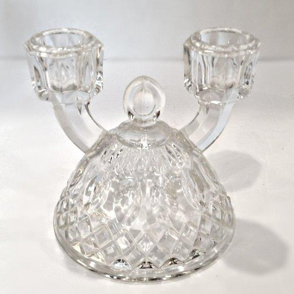 Hollywood Regency 1940s Vintage Indiana Glass Double Arm Candlestick Holder For Sale - Image 3 of 3