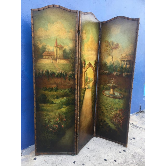 6 Ft Antique Painted Leather Screen W/ Pastural Scene - Image 2 of 10