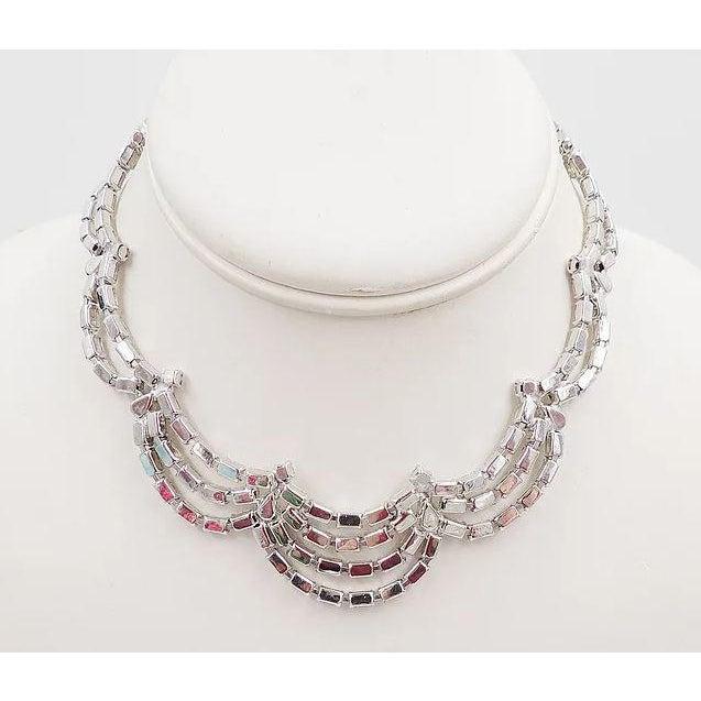 1950s Kramer of Ny Rhinestone Festoon Necklace For Sale - Image 11 of 12