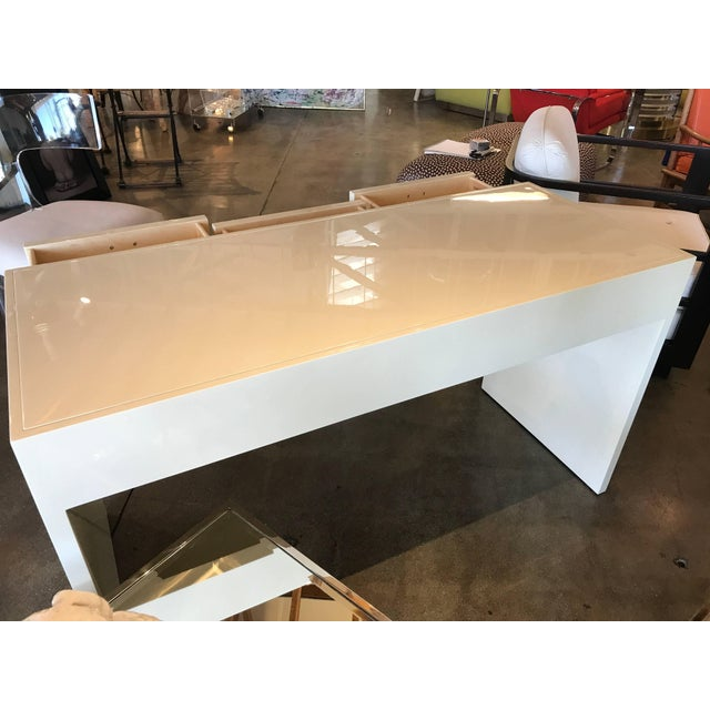 Early 21st Century Nancy Corzine Ivory Lacquer Three-Drawer Desk For Sale - Image 5 of 8