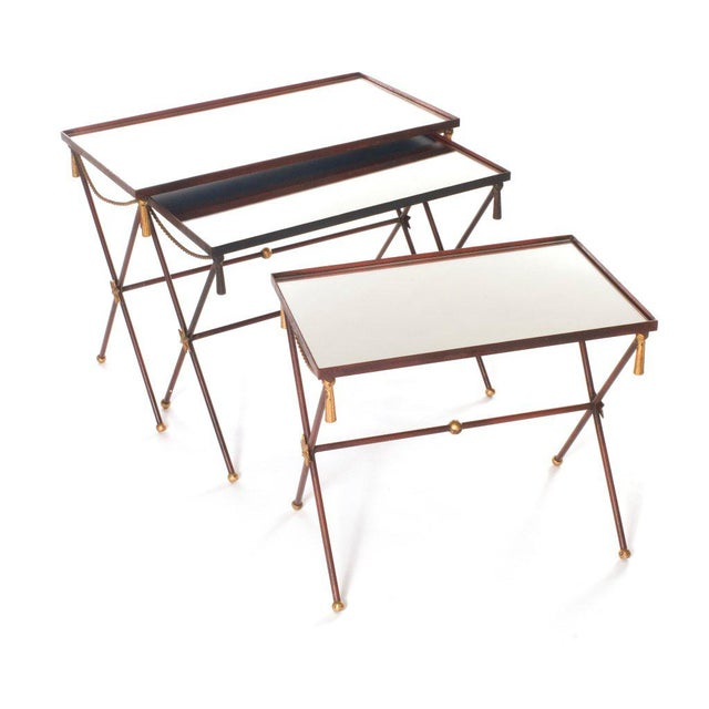 French Painted Mirrored Nesting Tables - Set of 3 - Image 5 of 6