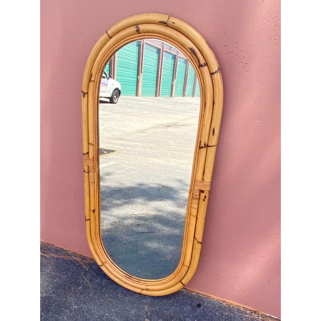Late 20th Century Vintage Coastal Bamboo Oval Mirror For Sale - Image 5 of 11