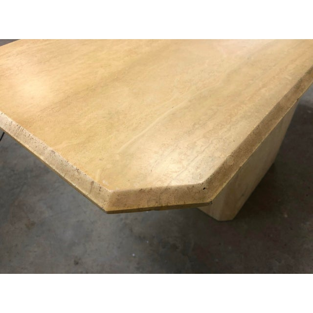 Italian Modern Beveled Travertine Console Table For Sale - Image 9 of 12
