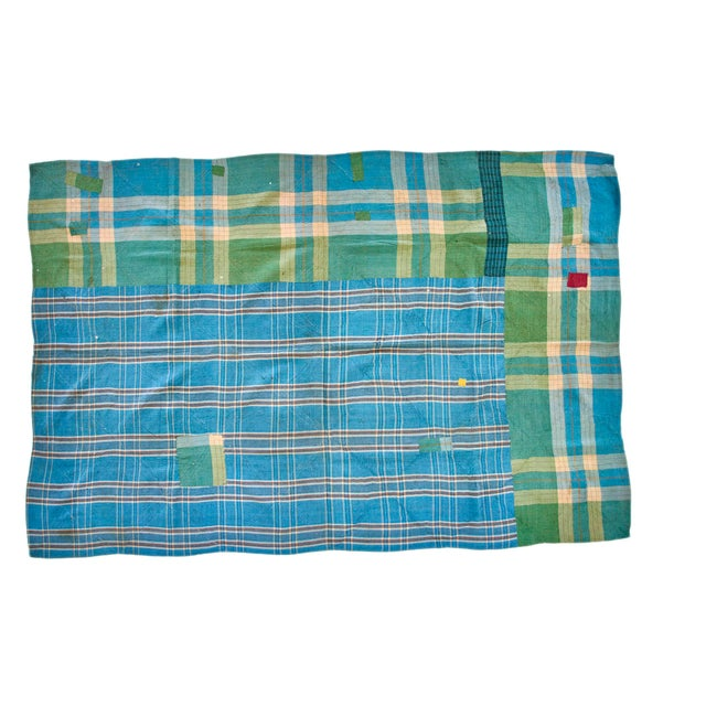 Beautiful hand-stitched double-sided patchwork Kantha throw blanket. Multi-colored design with pink, green and blue moon...