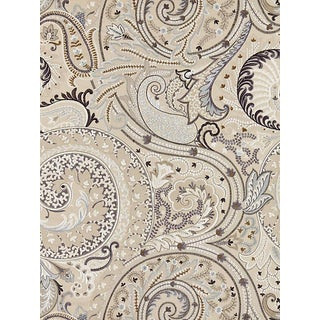 Sample, Scalamandre Malabar Paisley Embroidery Flax Fabric For Sale