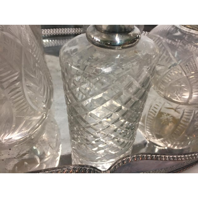 5 Cut Crystal Silverplate Bottles and Tray For Sale - Image 4 of 9