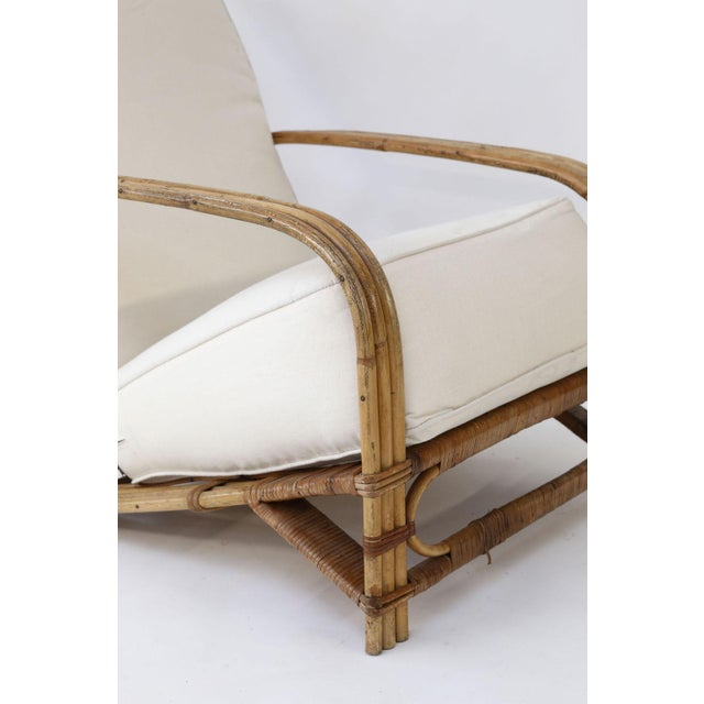 White Vintage Bamboo Lounge and Ottoman For Sale - Image 8 of 12