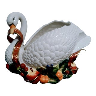 Extra Large Vintage Fitz and Floyd Christmas Ceramic Swan Fruit Centerpiece For Sale