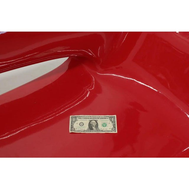 Red Red Molded Fiberglass Bench Love Seat For Sale - Image 8 of 11