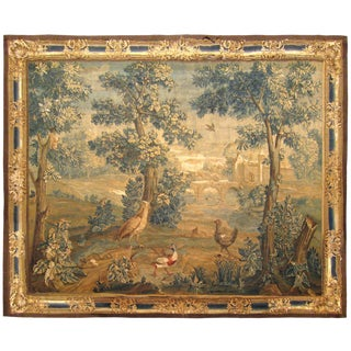 Antique 18th Century Flemish Landscape Verdure Tapestry, With Birds in the Woods For Sale