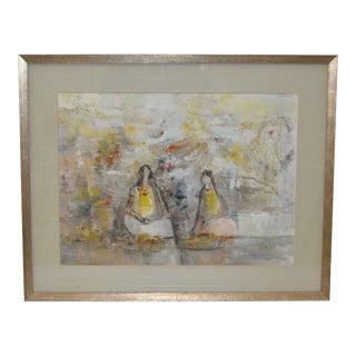 """Jaime Oates Original Painting """"Fruit Vendors"""" C.1974 For Sale"""