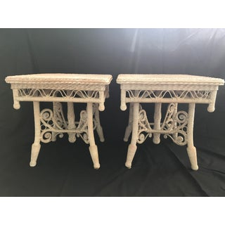 Vintage Mid Century Wicker Peacock End Tables-A Pair Preview