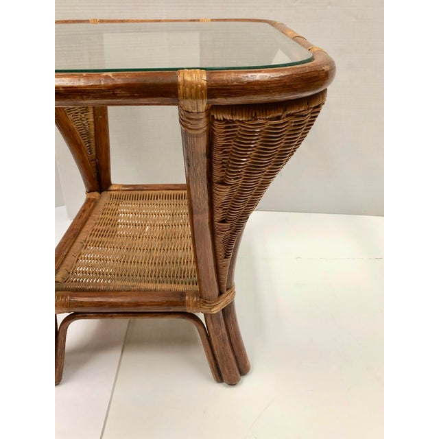 Brown 1940s Rattan and Wicker Side Table For Sale - Image 8 of 12
