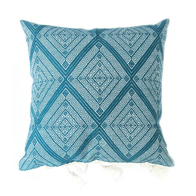 Teal Handwoven Mexican Pillows - Set of 3 For Sale - Image 4 of 6