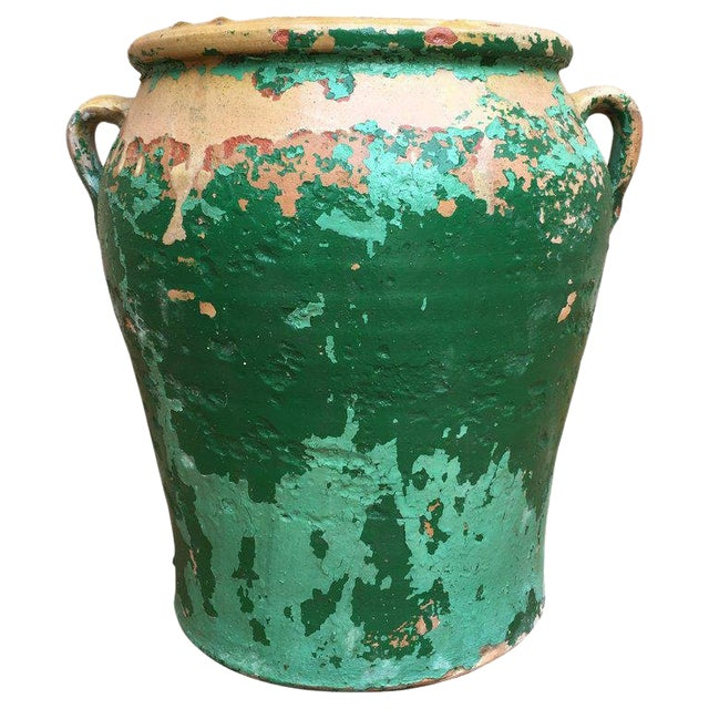 French 19th Century Green-Glazed Castelnaudary Pot or Planter With Handles For Sale