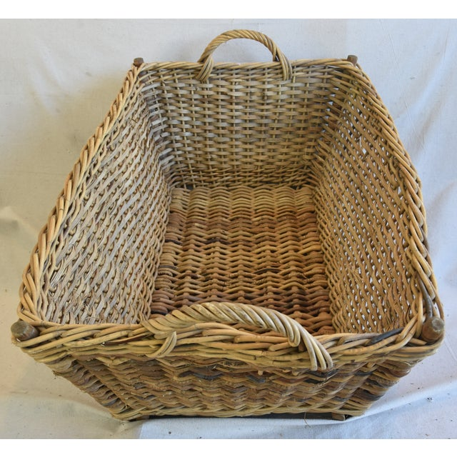 Large Early 1900s French Woven Wicker/Willow Market Basket For Sale - Image 5 of 11
