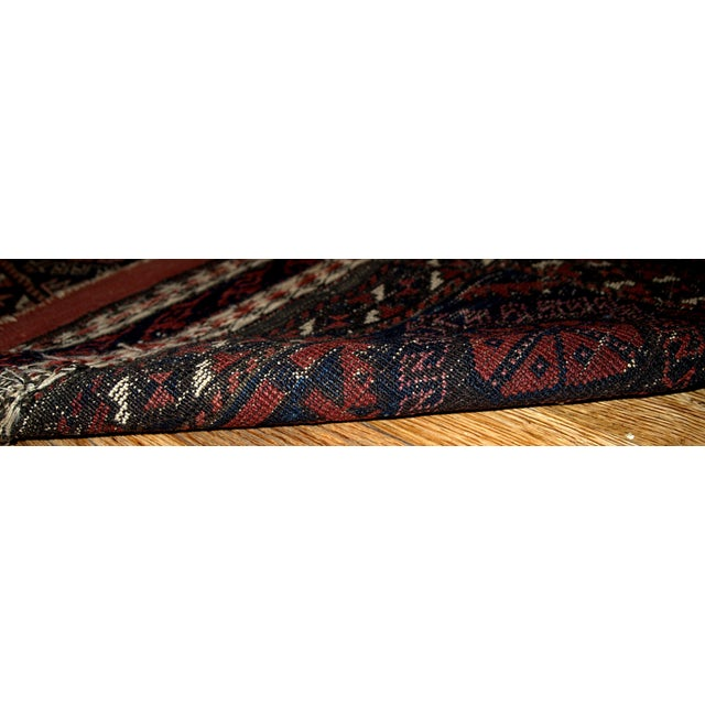 1880s Handmade Antique Afghan Baluch Rug - 2.7' X 2.10' For Sale - Image 4 of 5