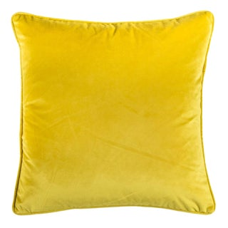 Velvet Yellow Pillow For Sale