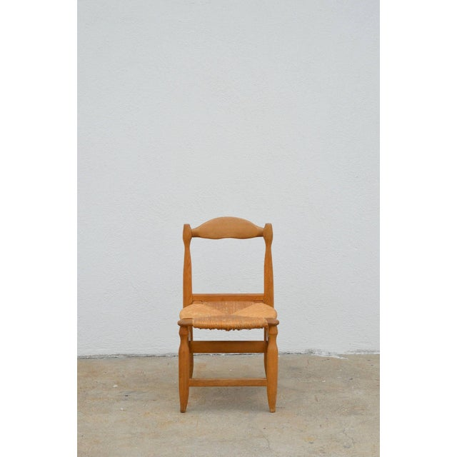 Oak Rare Set of 12 Guillerme Et Chambron Blond Oak and Rush Chairs For Sale - Image 7 of 7