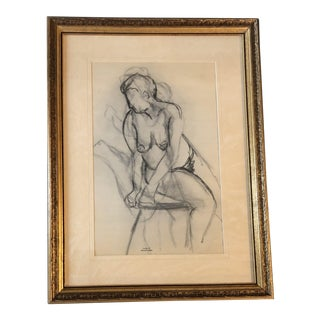 Original Vintage Female Nude Charcoal Study by Bernard Segal For Sale