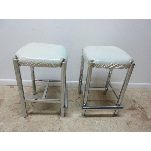 Mid-Century Cal Style Chrome Counter Bar Stools - A Pair For Sale - Image 4 of 11