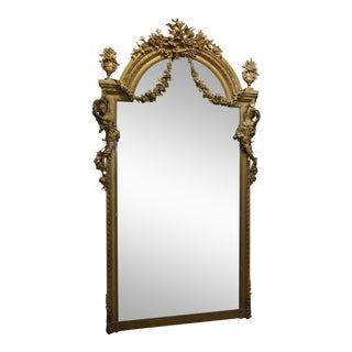 19th century Monumental Louis XVI carved Gilt Mirror w/Beautiful Nude Nymphs For Sale