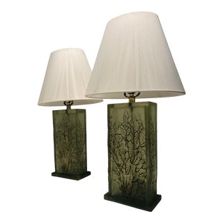 Green Resin Lamps With Tree Motif - a Pair For Sale