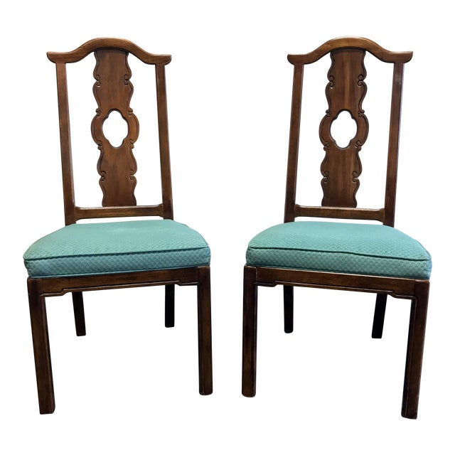 THOMASVILLE Mystique Asian Chinoiserie Dining Side Chairs - Pair 2 For Sale