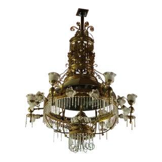 19th Century Victorian Brass Chandelier For Sale