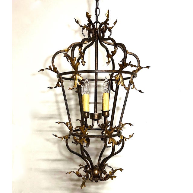 Late 20th Century Venetian Iron and Gilded Tole Foliate Hanging Lantern For Sale - Image 10 of 10