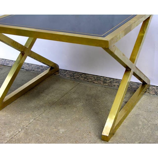 Italian Modern X-Frame Handcrafted Bronze and Black Low Coffee Tables - a Pair For Sale In New York - Image 6 of 11