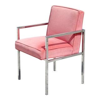 Swaim Chrome and Velvet Chair by John Mascheroni For Sale