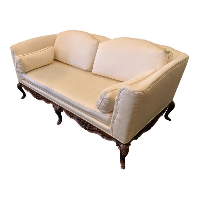 French Silk Upholstered Settee With Hand-Carved Wooden Base For Sale
