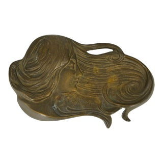 Early 20th Century Art Nouveau Woman Jewelry Dish For Sale