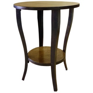 Melange Round Wooden End Table With Cabriole Legs, Side Table for Living Room, Accent Table for Small Spaces, Bottom Shelf- Natural For Sale