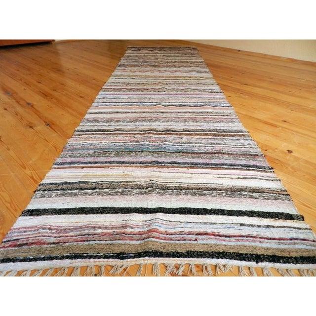 "Striped Turkish Rag Rug Runner- 10'3"" X 3'2"" - Image 7 of 10"
