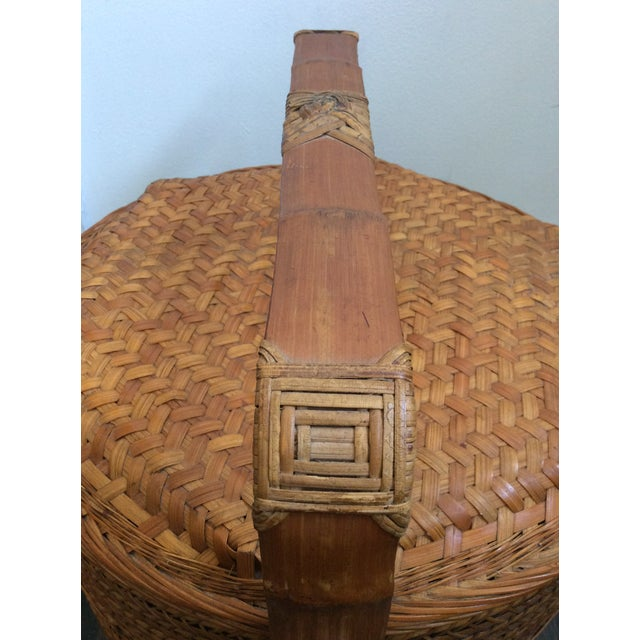 Antique Chinese Tiered Wicker Basket For Sale In Miami - Image 6 of 7