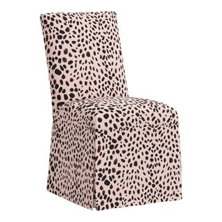 Slipcover Dining Chair in Washed Cheetah Pink Black For Sale