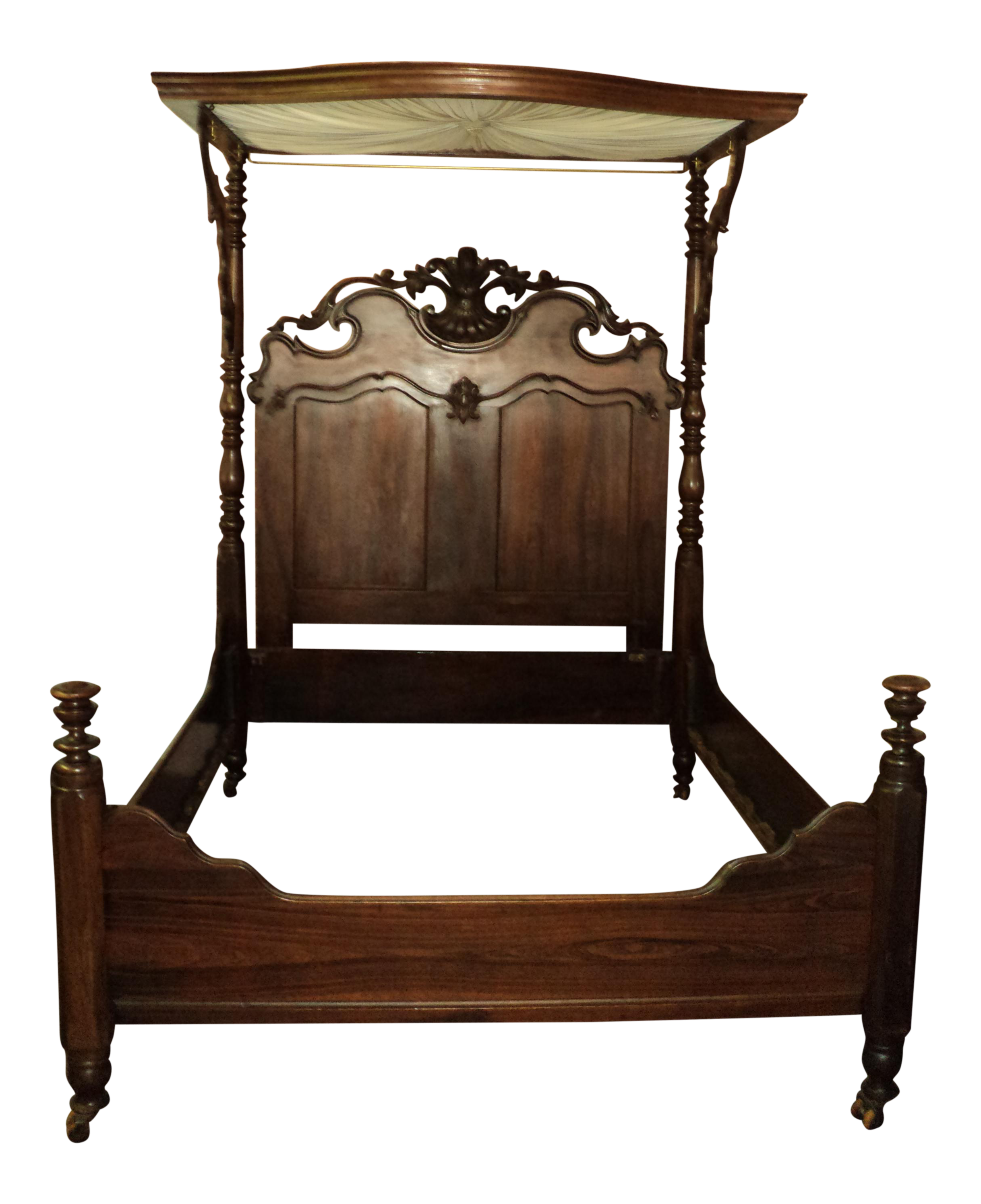 Antique Louis XV Revival Victorian Rosewood Canopy Half Tester Bed - Image 1 of 11  sc 1 st  Chairish & Antique Louis XV Revival Victorian Rosewood Canopy Half Tester Bed ...