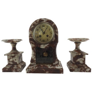 French Marble Clock and Pair of Pedestals For Sale