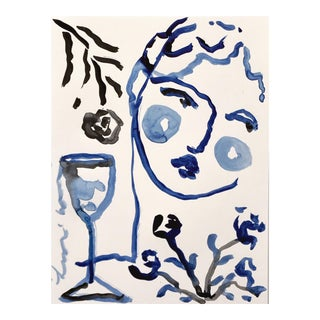 Black & Blue 'Flowers & Wine' Painting