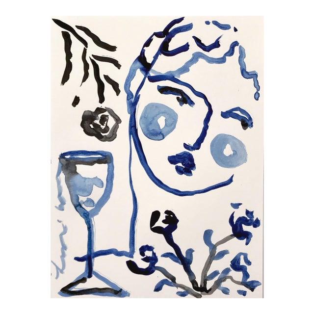 Black & Blue 'Flowers & Wine' Painting - Image 1 of 4