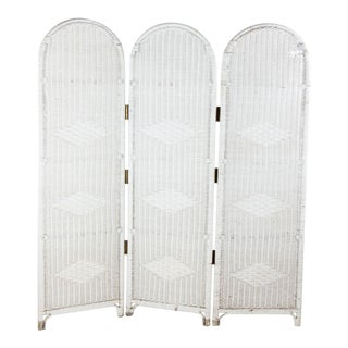 Vintage Mid-Century White Wicker Folding Screen For Sale