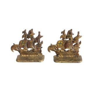 Vintage Pirate Ship Bookends - A Pair