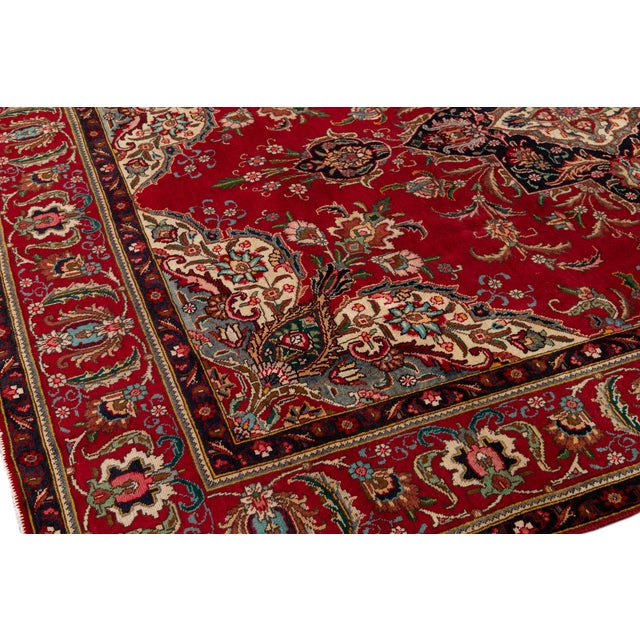 "Vintage Persian Tabriz Rug, 7'10"" X 11'0"" For Sale - Image 10 of 11"