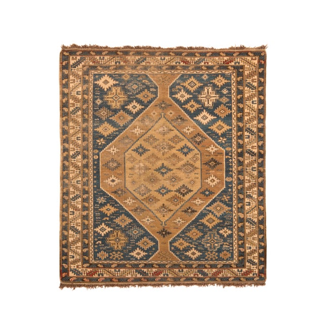 Antique Kuba Rug Beige Brown Blue Medallion Style Pattern For Sale In New York - Image 6 of 6