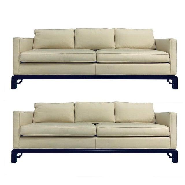 Mario Buatta for Widdicomb Chinoiserie Silk 3 Cushion Sofas - a Pair For Sale - Image 9 of 9